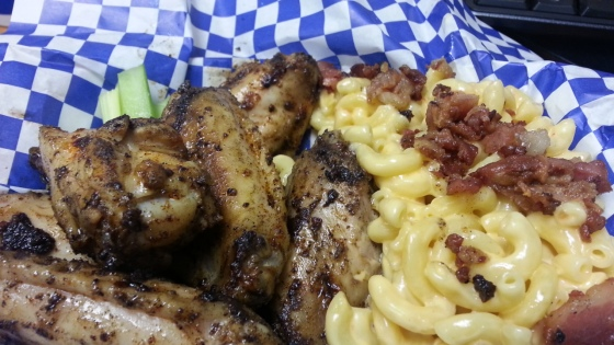 Smokin' Thighs - Chicken Wings and Bacon Mac & Cheese