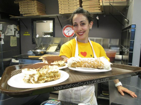 Stephanie With A Tray of Tiramisu and Cannoli