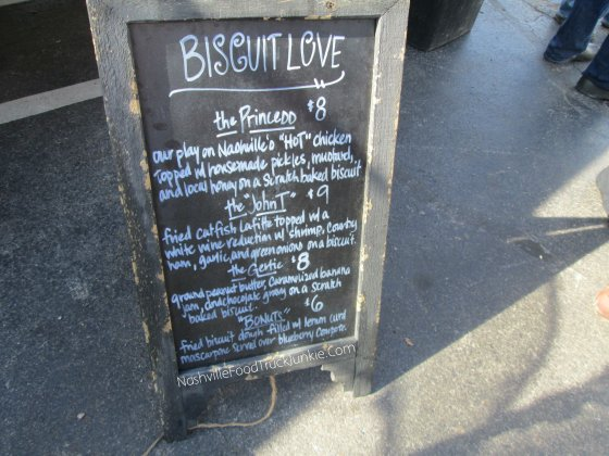 Biscuit Love's Menu for their Eat St Filming